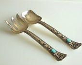 Frank Patania Sr. Salad Servers Set of Sterling Silver Spoon Fork Serving Thunderbird Hallmark Salad Set Genuine Turquoise 340 grams