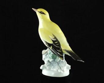 "Antique Karl Ens Hand Painted German Porcelain Bird Figurine - ""Golden Oriole"""