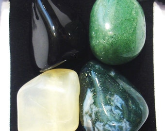 INNER STABILITY Tumbled Crystal Healing Set - 4 Gemstones w/Description & Pouch - Aventurine, Moonstone, Moss Agate,and Onyx
