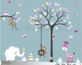 Nursery decal wall owl tree decals walls girls