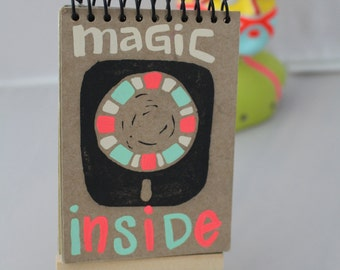 Magic Inside, Miniature Journal, One of a Kind stamped and painted Journal