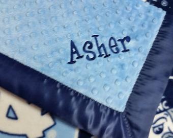 Personalized University of North Carolina Tarheels Fleece and Minky Baby Blanket.