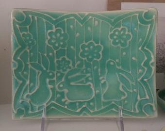 Ceramic Rabbit Square Plate / Easter