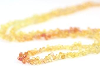 Songea Sapphire Micro Faceted Teardrop Briolettes Shaded Pink Orange Yellow Precious Gemstone September Birthstone