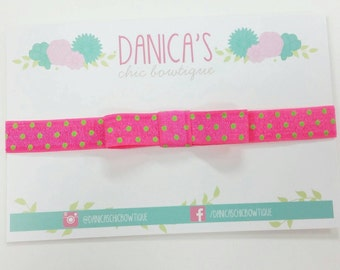 SALE Neon pink and lime simple bow headband