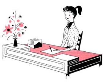 Woman Writing Letter Desk - Digital Image - Vintage Art Illustration