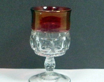 Sale Cordial Wine Glass Ruby Flashed Indiana Kings Crown 2 oz  Vintage 1950s Mid Century Barware