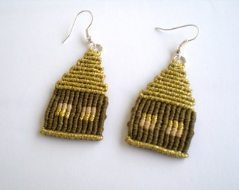 Jewellery Macrame earrings Tribal handwoven Small house in gold and olive green colors