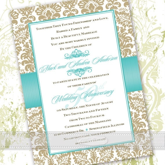 50th anniversary invitations, 50th anniversary party invitations, golden anniversary invitations, turquoise wedding invitations, IN363