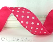 "Wired Ribbon, 1 1/2"", Pink with White Polka Dots - THREE YARDS - Offray, Summer, Spring, Easter, Hot Fuchsia Pink Wire Edged Ribbon"