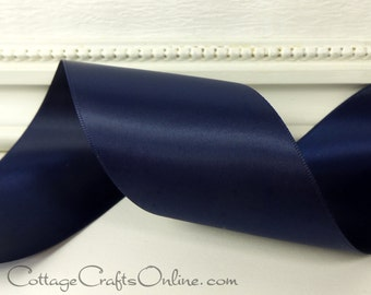 "Double Sided Satin Ribbon,  2 1/4"" wide, Navy Blue - TEN YARD ROLL -  Offray Ribbon,- Double Face Satin Dark Navy #16, Wedding Ribbon"