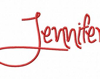 "Jennifer - Machine Embroidery Font - Sizes 2"",3"",4"" BUY 2 get 1 FREE"