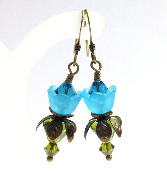 Make Your Own Necklaces And Jewelry At Home: Items Similar To Aqua Flowers, Make Your Own Earrings Kit