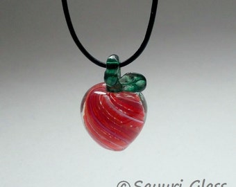 Red Swirl Apple Glass Pendant  : Disaster Relief
