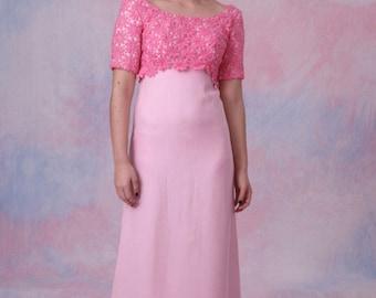 Vintage 60's Flower Applique Low Back Empire Waist Pink PROM BRIDAL Dress w/ Train
