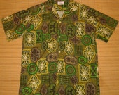 Mens Vintage 60s Liberty House tribal Tiki Hawaiian Aloha Shirt - S -The Hana Shirt Co
