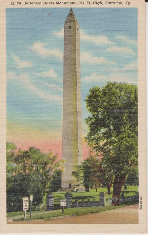fairview kentucky jefferson davis monument linen postcard