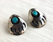 Bear Paw Earrings Native American Turquoise Sterling Silver Posts Studs Vintage Southwestern Jewelry