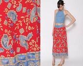 Vintage 80s 90s Red Denim Button Down Skirt