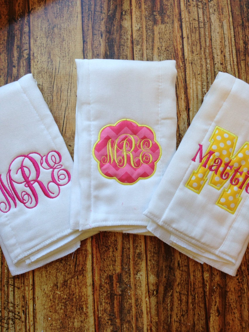 Set of 3 Personalized Burp Cloths Diaper Cloths Baby Girl