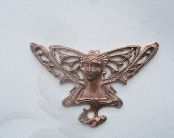 Vintage 40s Gingerbrass Butterfly Goddess Or Fairy Stamping 1Pc.