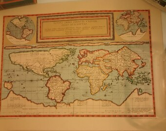 Vintage Map ,1589 World MAP by Gerard and Cornelis de Jode , Rand McNally reproduction