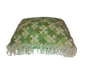 antique large VICTORIAN pin cushion , Needle Point w Beaded tassels ,  Green silk