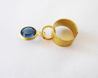 Gold ear cuff, Blue rhinestone ear cuff, Dainty dangle ear cuff, No piercing ear cuff, Cartilage earring, cartilage ear cuff, small ear cuff