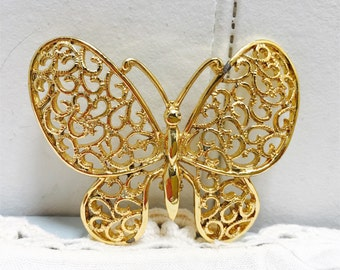 Vintage 1970s Gold Butterfly Brooch