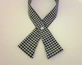 Womens Crisscross Tie, White and Black Gingham, Continental Tie, Scout Tie, Handmade