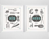 Bathroom Couple Prints - His Hers - 2 piece set - Retro aqua cream vintage inspired typography wedding anniversary poster art decor 8x10