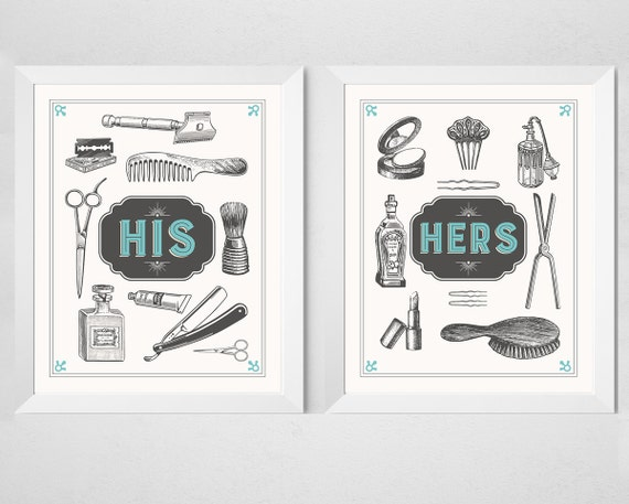 Bathroom Couple Prints His Hers 2 Piece Set Retro Aqua Cream Vintage Inspired