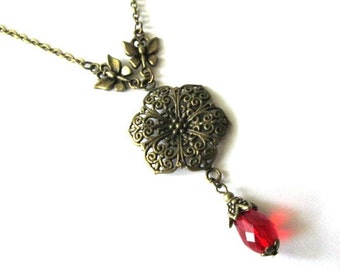 Red drop necklace jewelry, antique bronze brass flower necklace with butterfly vintage victorian style Czech red teardrop crystal bead