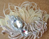 ON SALE Ivory Peacock Headpiece-. Embellished with Original AUSTRALIAN Peacock Crystal. Wedding, Bridesmaids - Peacock Crystals Collection-