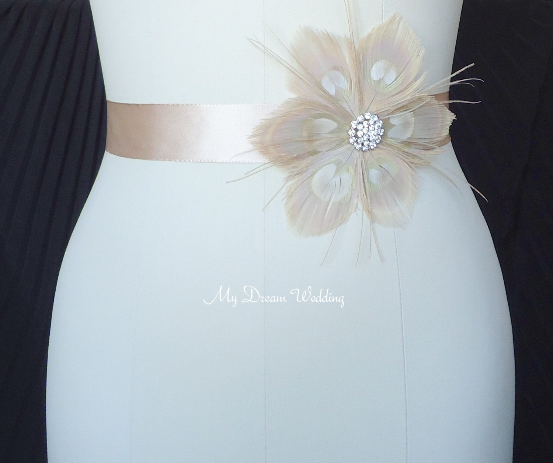 Beige sash peacock beige champagne sash stunning simply for Peacock wedding dress sash