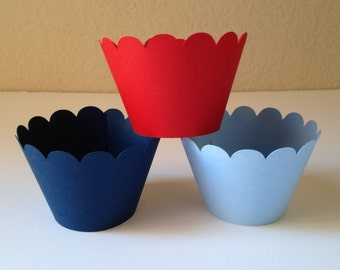 Red, Light Blue and Navy Party Cupcake Wrappers - Party Decorations - Cupcake Holders - Baby Shower Decor - Cupcake Wraps - Set of 12