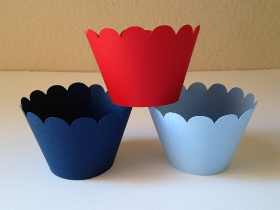 Ready to Ship -  12 Red, Light Blue and Navy Cupcake Wrappers