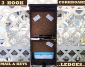 "3 Hook Message Board.. Mail Holder..Ledges...""Espresso & Tan""..or You Choose Color."