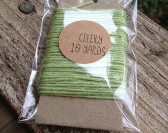 10 Yards - Solid  Baker's  Twine / String • 100% Cotton • Eco Friendly • Gift Wrap • Bakery String •  Celery