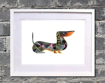 "Dachshund poster A3  "" Art Deco Doxie"""