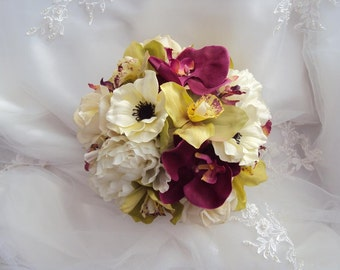 Wedding Natural Touch Cranberry Sangria Burgundy Orchids, Silk Ivory anemones and peonies, Real Touch Ivory Roses Silk Wedding Bouquet