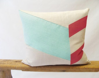 Color Block Chevron Pillow Cover/Aqua/Coral/Spring/Summer/Cream/Modern/Minimalistic/Accent Pillow/New Collection/Zigazag Studio Design