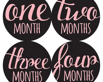 FREE GIFT, Pink Black Baby Girl Month Stickers, Monthly Baby Sticker Girl, Baby Belly Sticker Girl, Baby Milestone Sticker, Pink, Black