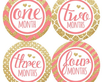 FREE GIFT, Baby Girl Month Stickers, Pink, Coral, Gold Glitter, Hearts, Monthly Baby Stickers, Baby Month Stickers, Belly to Baby, Gift
