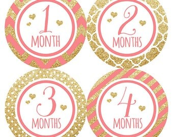FREE GIFT, Gold Glitter Monthly Baby Sticker, Glitter Month Milestone Stickers, Baby Girl Month Stickers Glitter, Month by Month Glitter