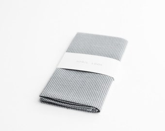 Grey pocket square with houndstooth pattern, MADE TO ORDER