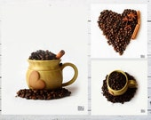 Set of 3 photographs, Coffee photograph, Coffee beans, Cup of coffee, Coffee love, Kitchen art, Coffee shop decor