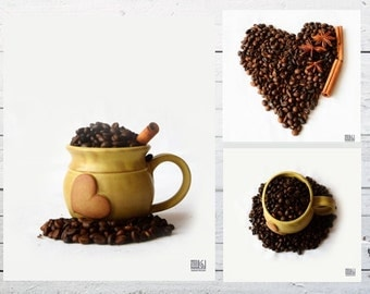 Cup of coffee, Food photography, Coffee heart, Kitchen art, Coffee Beans, Café décor, Dining room décor, Coffee lovers gift, Set of 3 prints