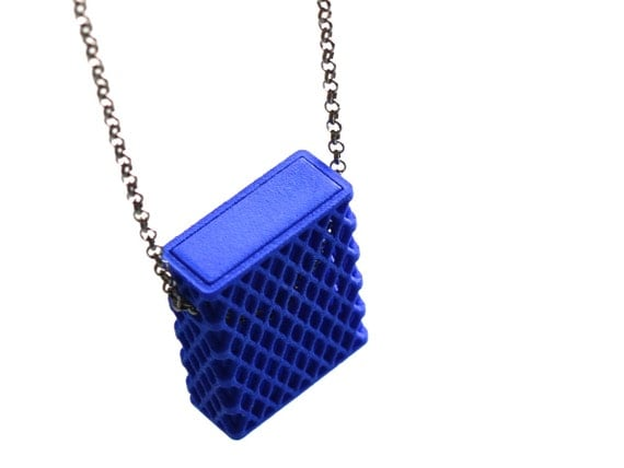 3d printed necklace matchbox pendant in blue modern