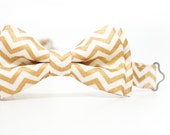 Special Bow Tie - Gold Chevron Bow Tie for Boys, Toddlers, Baby - pre tied bowtie, wedding, ring bearer, photo prop, holiday